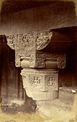 Capital and part of column in verandah of Buddhist Vihara, Cave XXIV, Ajanta